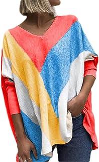 GUOCAI Women's Autumn Color Block Tops Loose Long Sleeve V-Neck T-shirt Blouse
