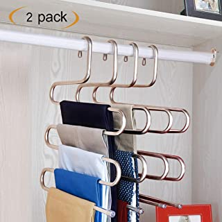 HonTop S-Type Multi-Purpose Pants Hangers Rack Stainless Steel Magic for Hanging Trousers Jeans Scarf Tie Leggings Clothes,Space Saving Storage Rack 5 Layers (2 Pcs)