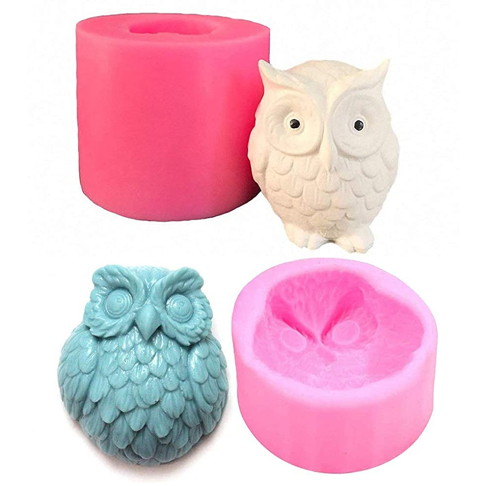 Fewo 2-Pack 3D Owl Silicone Molds for Fondant Chocolate Candy Cake Decorating Candle Soap Lotion Bar Wax Crayon Melt Plaster Polymer Clay