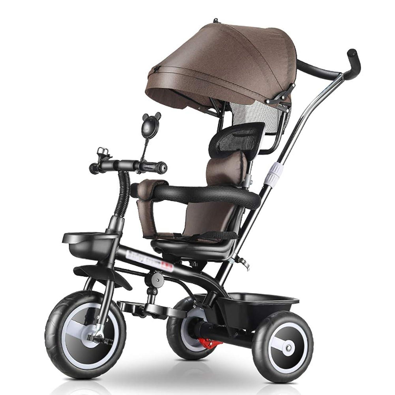 三輪車- 子供の幼児のためのブラウンの乗車の三輪車、ブレーキ/プッシュハンドル/おおい、1-5歳の子供のトライクの軽量旅行ベビーカー
