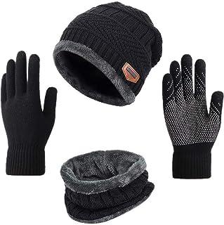 Yvechus 3 في 1 الشتاء قبعة وشاح وقفاز مجموعة دافئة متماسكة قبعة سميكة الصوف مبطن للرجال النساء
