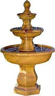 Sunnydaze Tropical 3-Tier Outdoor Garden Water Fountain, Backyard and Patio Waterfall Feature, 40 Inch Tall