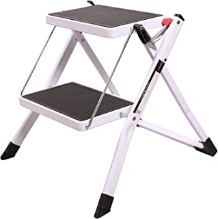 REDCAMP Small Step Ladder 2 Step Stool for Adults 330lbs, Sturdy Heavy Duty White Folding Mini Ladder for Kitchen Closet