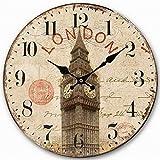 Telisha Retro Diseño Gran Reloj Reino Unido Big Ben de Londres British Home Decorativo Reloj de Pared de Madera 34cm 13,4'