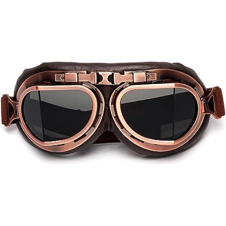 League Co League Co Retrodesign Motorradbrille Pilotenbrille Schutzbrille Fliegerbrille Helm Brillen Grau Auto
