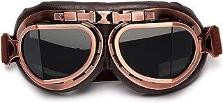LEAGUE&CO Retrodesign Motorradbrille Pilotenbrille Schutzbrille Fliegerbrille Helm Brillen