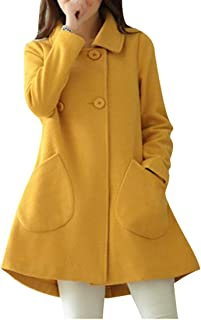 31a053f07f3 Jotebriyo Womens Winter Warm Double Breasted A-Line Swing Wool Trench Pea  Coats