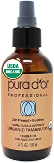 PURA D'OR Organic Tamanu Oil (4oz) USDA Certified - 100% Pure & Natural Hexane Free Premium Grade Moisturizer - Helps Reduce Appearance of Scars from Psoriasis, Eczema & Acne (Packaging may vary)