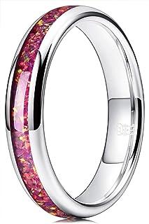 Three Keys Jewelry 8mm Tungsten Wedding Ring Blue 2mm Imitated Meteorite Inlay Wedding Band Engagement Ring