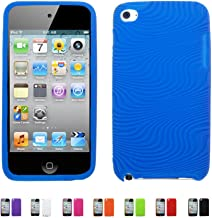 BLUE Apple iPod Touch 4 4G w/Cameras (iPod Touch 4G, iPod Touch 4th Generation) 16GB 32GB 64GB WAVY Textured Silicone Case Skin Cover + Free Screen Protector (Many Colors Available), BLUE