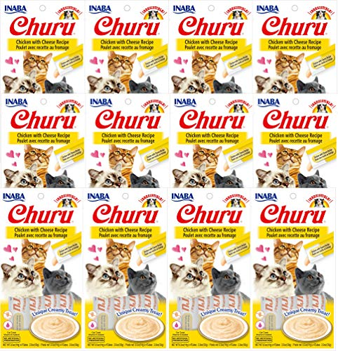 INABA Churu Chicken with Cheese Recipe Lickable Creamy Purée Cat Treats 48 Tubes