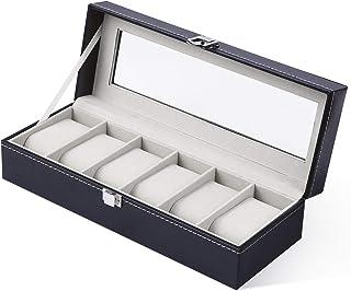Ohuhu Watch Organizer, 6 Slot Watch Box PU Leather Watches Storage Case with Lock and Key