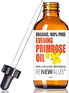 Renewalize Certified Organic Evening Primrose Oil in Large 4 OZ. Dark Glass Bottle | Cold Pressed | Essential All Natural ...