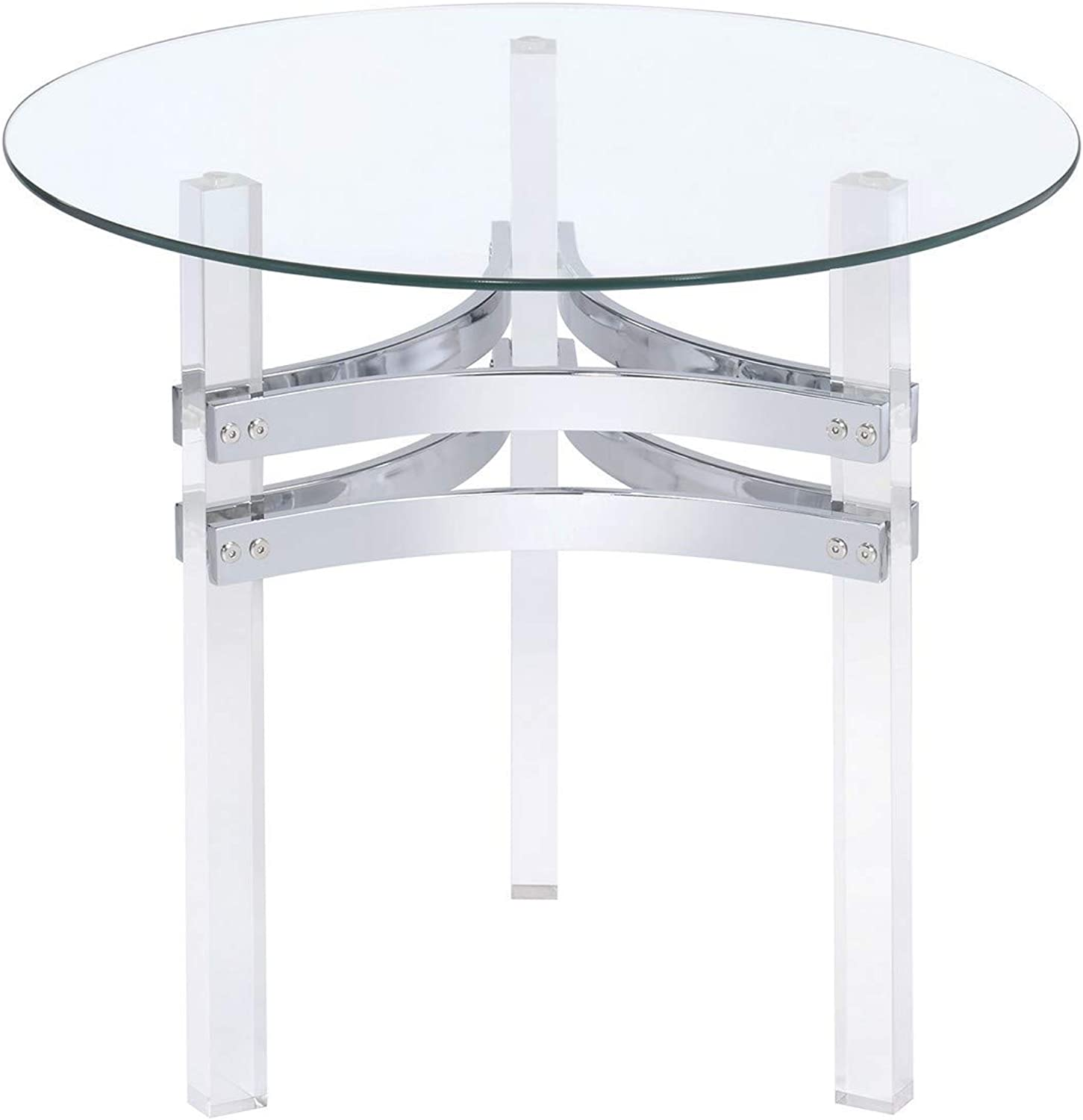 Coaster 720707-CO Round Glass Top End Table, Chrome