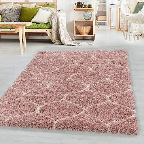 Simpex Hochflor Design Teppich Wohnzimmerteppich Muster Kachel Tile Jacquard Rose, Farbe:Rose, Grösse:240x340 cm