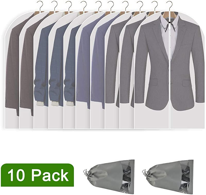 Perber Hanging Garment Bag Lightweight Clear Full Zipper Suit Bags Set Of 10 PEVA Moth Proof Breathable Dust Cover For Closet Clothes Storage 24 X 40 10 Pack