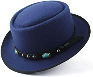 2019 Mens Womens Hats Unisex Men Women Flat Top Hat Autumn Fashion Pop Church Travel Hat Wool Pork Pie Hat Flat Fedora Hat for Gentleman Elegant Lady Gambler Trilby (Color : Blue, Size : 58)