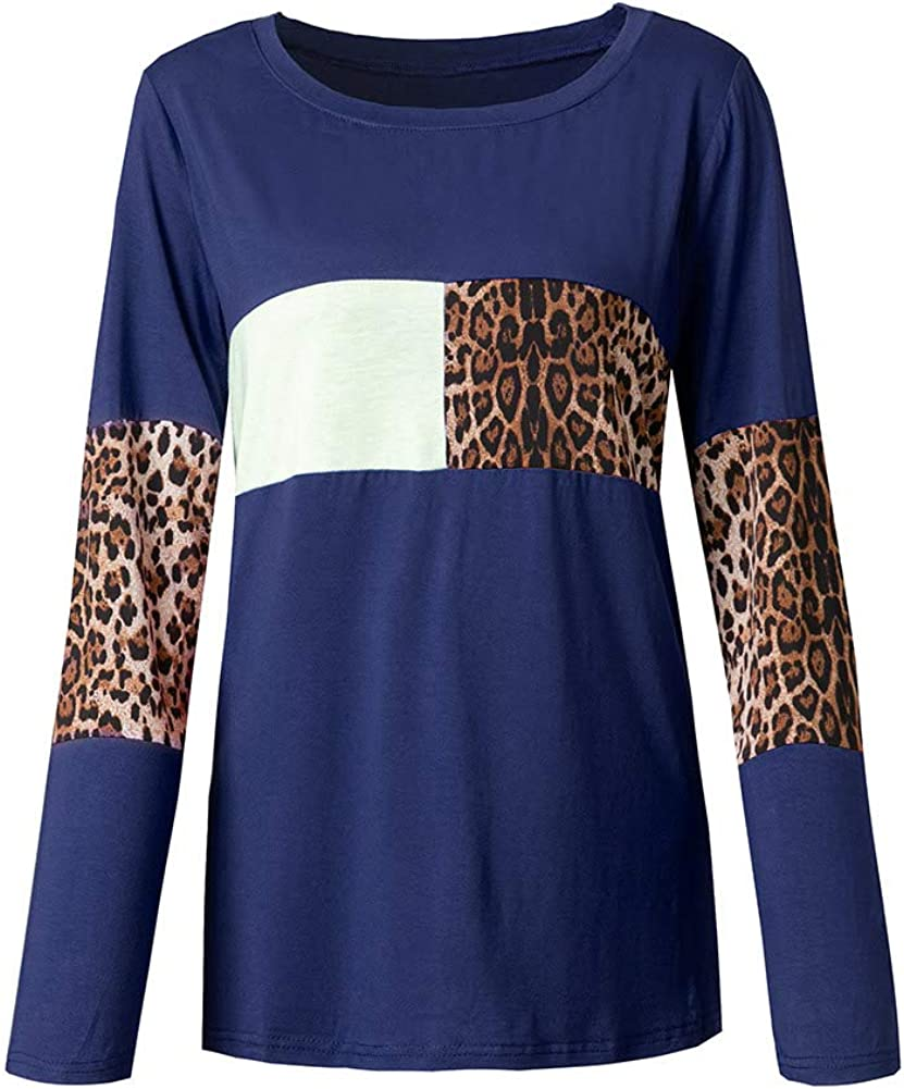 Ranee Women's Plus Size Leopard Print Color Block Tunic Tops Round Neck Long Sleeve Casual Loose Blouses Shirts (XL-5XL)