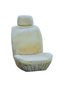 Genuine Sheepskin Seat Covers Fur Seat Covers for Cars Furry Seat Covers for Car Fuzzy Seat Covers for Car Fluffy Seat Covers for Car Fur Shearling Car Accessories Auto Car Truck SUV (Beige)