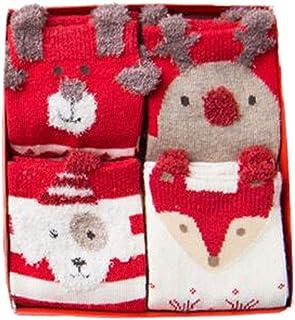 MEIHAOWEI, 4Pairs Algodón Santa Claus Christmas Elk Caliente Lindos Animales 3D Dibujos Calcetines Dibujos Animados para Niños