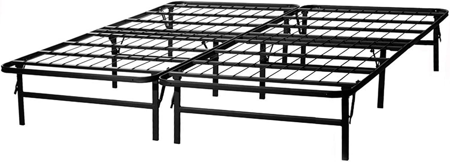 MALOUF Structures HIGHRISE HD Folding Metal Bed Frame, 14 Inch High Bi-Fold Platform Bed Base and Box Spring, Twin X-Large