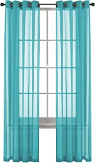 GoodGram 2 Pack Ultra Luxurious High Woven Elegant Sheer Grommet Curtain Panels - Assorted Colors (Turquoise)