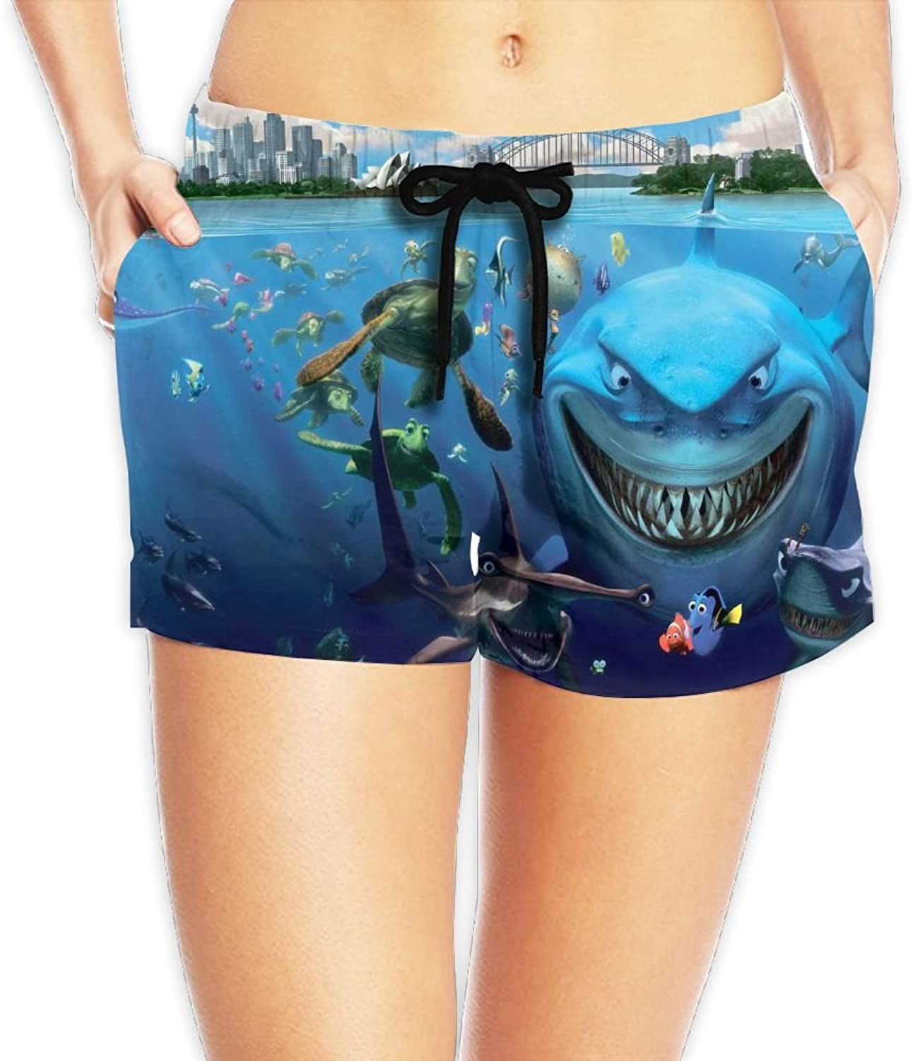 Findingnemo Board Shorts Quick Dry Summer Casual Shorts With Pockets For Womans White