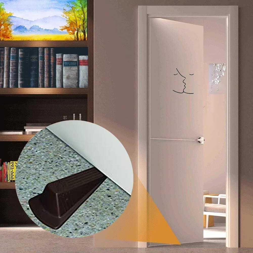 Lorvain 6pcs Rubber Door Stopper Wedge Heavy Duty Wedge Rubber Door Stop Non-Scratching and Anti-Slip Design Brown Suitable for Home Office School Heavy Door