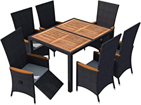 vidaXL Acacia Wood Outdoor Dining Set 7 Piece Wooden Garden Patio Foldable Folding Dinner Table and Chairs Furniture Setti...