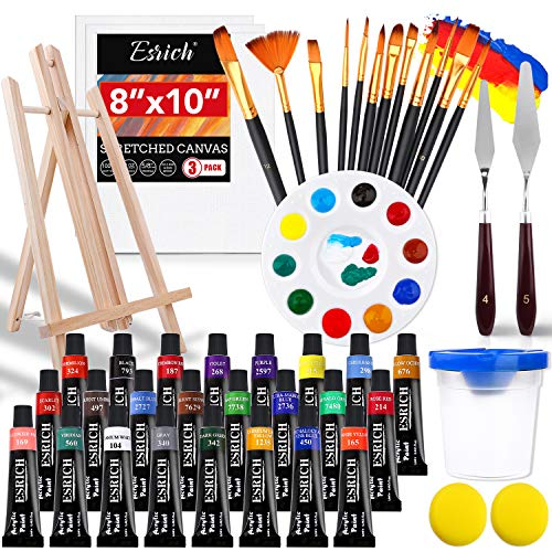 Acrylic Paint Set,46 Piece Professional Painting Supplies with Paint Brushes, Acrylic Paint, Easel, Canvases, Palette, Paint Knives, Brush Cup and Art Sponges for Hobbyists and Beginners