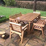 6' Table 2 Benches & 2 Chairs. Solid <span class='highlight'>Wooden</span> <span class='highlight'>Garden</span> <span class='highlight'>Furniture</span> Set. * SUPER STURDY *