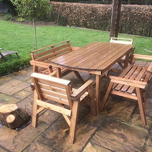 6 Table 2 Benches 2 Chairs Solid Wooden Garden Furniture Set
