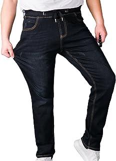 Sentao Men's Trousers Denim Casual Elastic Waist Jeans Stretch Straight Leg Jeans