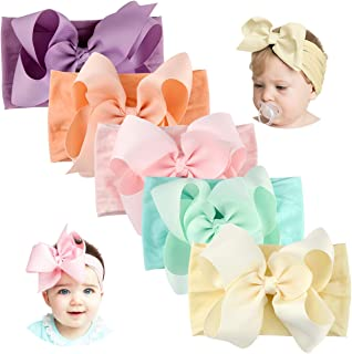 Baby Headbands with Bows-Handmade Stretchy Nylon Pom Pom Bun 5.5 inch Big Hair Bow Headband for Infant Baby Girls