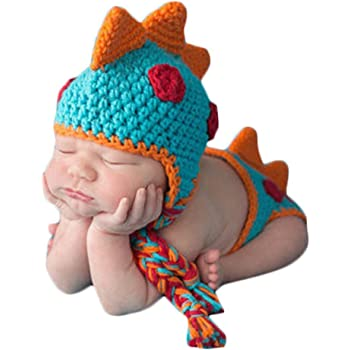 MSFS Baby Baby Crochet Knitted Photo Photography Props Handmade Baby Hat Diaper Outfit 3-6 Month