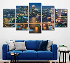 HNFSSK Hd Print Modern Miniature Art Oil Painting Bangkok Night View Painting Home Kitchen