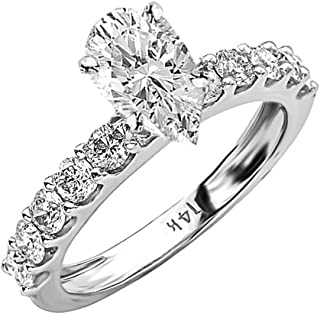 3 Ctw 14K White Gold Classic Side Stone Prong Set Pear Cut Diamond Engagement Ring (2 Ct K Color SI2 Clarity Center Stone)