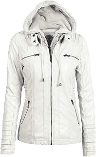 QINGMM Women's Removable Hooded Jacket Faux Leather Moto Biker Jackets (XS-7XL)