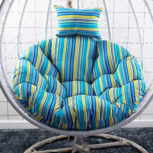LICEA Non Slip Chair Seat Cushion for Balcony Garden Patio,Fluffy Thicken Swing Chair Cushion,Round Breathable Hanging Egg Chair Cushion with Head Pillow