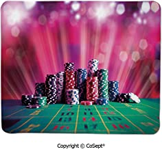 Quality Selection Comfortable Mouse Pad,Stack of Gambling Chips Success Wealth Winner Lucky Betting Decorative,Dual Use Mouse pad for Office/Home (11.81