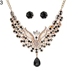 Fashion Jewelry Sets for Women Clearance & Retro Multicolor Rhinestone Hollow Peacock Bib Necklace Ear Studs Jewelry Set