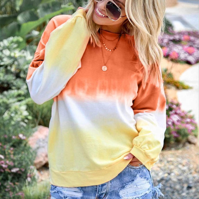 MNBV Hoodie 5XL Herbst Mode Farbverlauf Hoodies Frauen Sweatshirt Sexy Langarm Pul r Weibliche Trainingsanzug Tops XL Orange