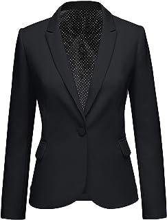 luvamia Women's Long Sleeve Formal Notch Lapel Button Down Blazer Pocket Jacket