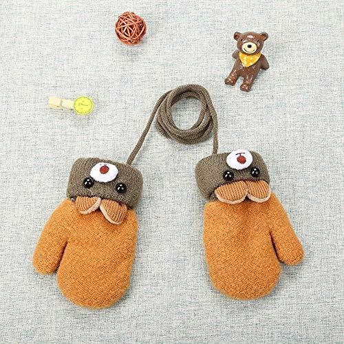 Guantes for niños de 0-3 años de Nueva lindo Guantes oso de la historieta muchachas de los bebés de invierno de punto de lana caliente recién nacido manoplas de terciopelo grueso Niños ( color : 02 )