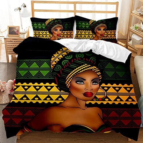 kxry Sexy African Black Girl Bedding Set King Size Afro Ethnic Tribal Women Retro Duvet Cover product image