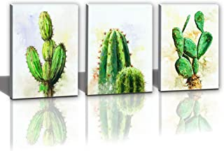 Hongwu Canvas Wall Art Cactus Desert Plant Painting 3 Piece Canvas Prints Cactus Pictures Stretched Ready to Hang for Home Office Wall Decor 12x16inch