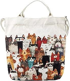 OURBAG Cartoon Cats Printed Beach Bag Canvas Tote Shopping Handbags Fashion Femme Bags