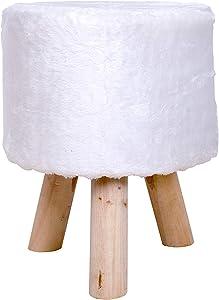 Rebecca Mobili RE4534 Pouf Repose-Pieds en Fourrure pour Salon, Meubles Blanc 45 x 35 x 35 cm