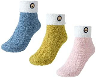 IYOU, Calcetines de invierno mullidos azules, cálidos pantuflas de microfibra de felpa, calcetines de forro polar para mujeres y niñas (3 pares)