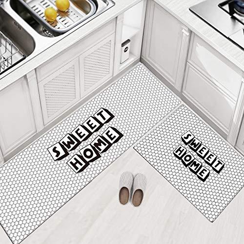 HLXX Alfombras de Cocina Modernas Alfombrillas Resistentes al Agua y al Aceite Alfombras de Cocina Alfombras Antideslizantes Pasillo Entrada Felpudo Dormitorio Footpad A23 40x60cm + 40x120cm